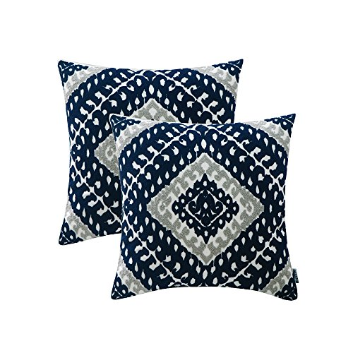 HWY 50 Cotton Embroidered Decorative Throw Pillows Covers Sets Cushion Case for Couch Sofa Bed Car Living Room 18 x 18 inches 45 x 45 cm Blue Modern Chic Geometric Decor, Pack of 2