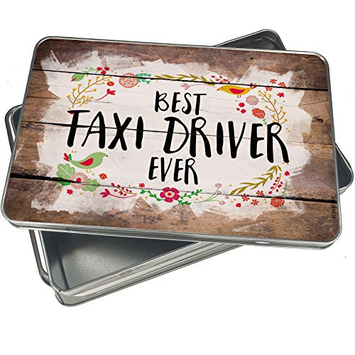 Jar Cookie Taxi - NEONBLOND Cookie Box Happy Floral Border Taxi Driver Christmas Metal Container