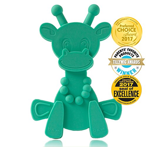 Baby Teething Toy Extraordinaire - Little bamBAM Giraffe Teether Toys by Bambeado. Our BPA Free Teethers help take the stress out of Teething, from Newborn Baby through to Infant. Sassy Infant Teether