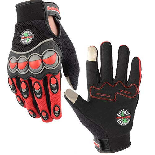 (Radar Screen Motorcycle Gloves Touch Screen BMX Racing Mountain Bike Cycling Outdoor Gloves (Red2,)