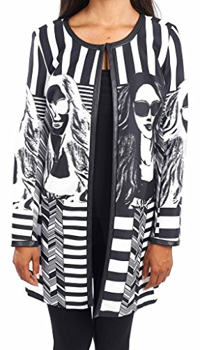 Joseph Ribkoff Black & White Stripe + Graphic Design Coat Style 163874 - Size 14 by Joseph Ribkoff