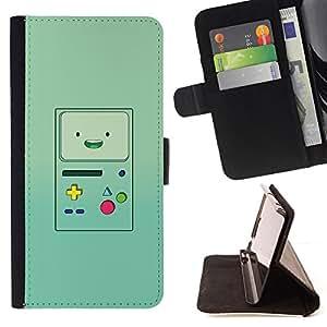 BullDog Case - FOR/LG G2 D800 / - / handheld game console green retro /- Monedero de cuero de la PU Llevar cubierta de la caja con el ID Credit Card Slots Flip funda de cuer