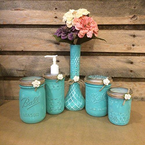 Hand Painted Mason Jar Desk Set or Mason Jar Bathroom Set in Turquoise and White with vintage Hoosier Glass bud - Painted Bud Hand Vase