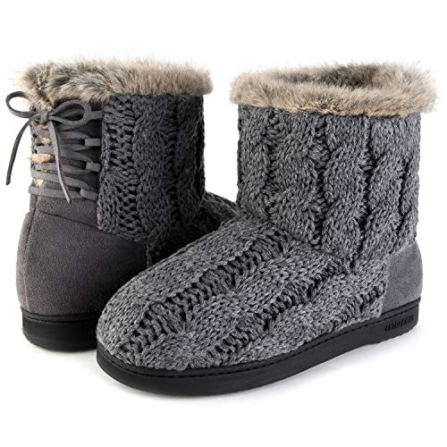 ULTRAIDEAS Women's Soft Yarn Cable Knit Bootie Slippers Memory Foam Indoor & Outdoor Shoes w/Adjustable Suede Lace (8 B(M) US, Dark Gray)