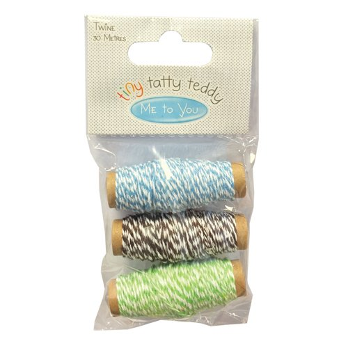 Tiny Tatty Teddy Boy Butchers Stripe Twine 3x10m Green/Brown/Blue