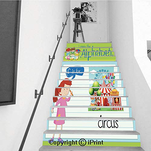 Stair Stickers Wall Stickers,13 PCS Self-Adhesive,Stair Riser Decal for Living Room, Hall, Kids Room,Flashcard Alphabet C is for Circus -