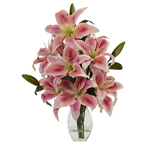 (Nearly Natural 1617-PK Rubrum Lily Arrangement in Decorative Vase Artificial Plant, Pink)