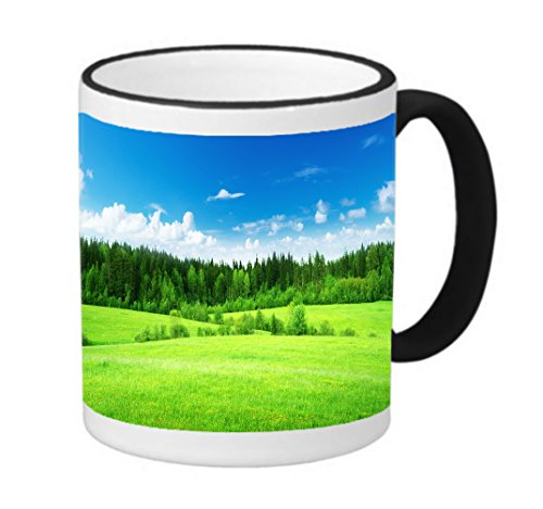 (Beautiful Nature Country Side Forest 11 ounce Black Rim/Handle Ringer Ceramic Coffee Mug Tea Cup by Trendy Accessories)