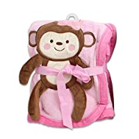Baby Girl Blanket with Monkey Design - 30x40 Inch (Pink)