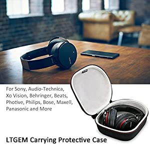 LTGEM Hard Headphone Case Travel Bag for Sony, Audio-Technica, Xo Vision, Behringer, Beats, Photive, Philips, Bose, Maxell, Panasonic and More-Black
