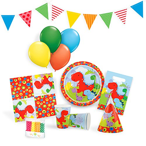 Little Dinosaur Party Supplies Set for 12 - Birthday Party Kit Includes Cups, Plates, Napkins, Balloons, Hats, Favor Bags, Candles and Party Bunting
