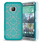 HTC One M9 / One Hima Case, INNOVAA Elegant Transparent Rubber Coating Slim Hard Case W/ Free Screen Protector & Stylus Pen - Teal
