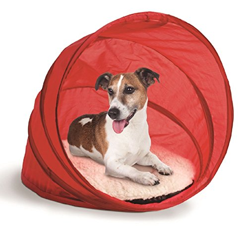 Bone Linen Shade (Pop up Pet Bed Cover Shade Dog Cat Cushion Travel Folding Red Fleece Comfort)