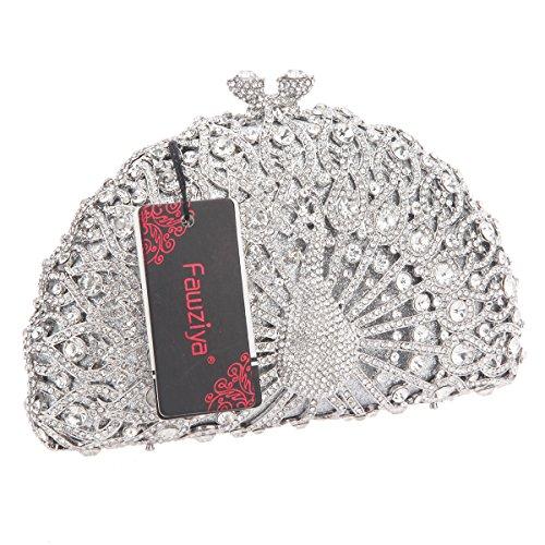 Bag Crystal Clutch Women Peacock Luxury For Evening Clutches Argento Fawziya Sa87xW