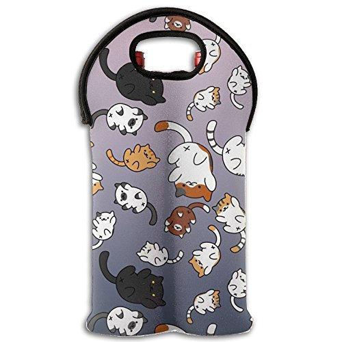 Wine Tote Carrier Bag Cute Cat Wallpaper Purse For Champagne,Water Bottles