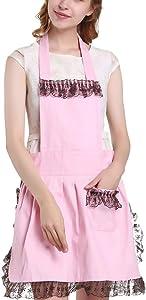 IWEIK Women's Black Tulle Lace Trim Pink Cotton Apron