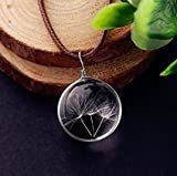 nature pendant - J.C Arts Real Dandelion Dandelion Necklace Real Dandelion Seed, Wish Necklace Nature Jewelery Good Luck Charm