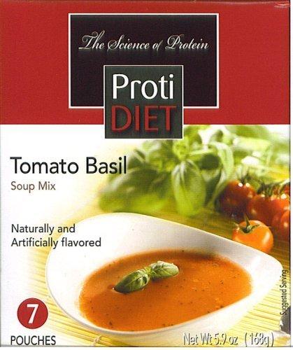 ProtiDIET Soup Nutritional Supplement 7 Pouches (6.2 oz) | Low Calorie Instant Soup With High Protein & Delicious Soup Mix (Tomato Basil)
