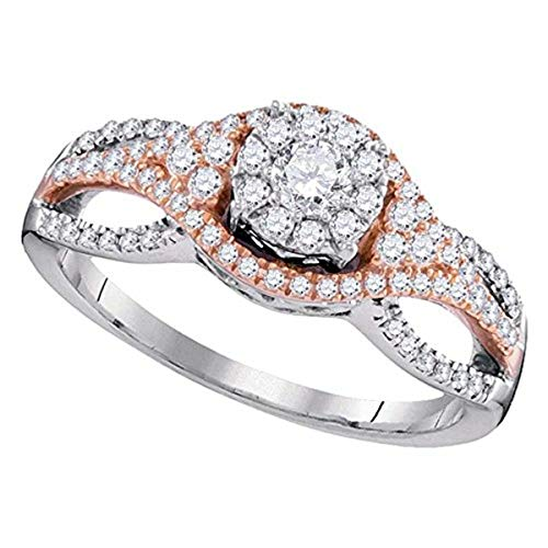 Roy Rose Jewelry 10K Two-tone Gold Womens Round Diamond Cluster Bridal Wedding Engagement Ring 1/2-Carat tw