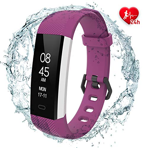 fitpolo Fitness Tracker with HR Monitor- Slim Smart Watch,Waterproof Activity Tracker with Step Calorie Counter,Sleep Monitor,Pedometer, Call/SNS Remind for Adults and Kids Android&iOS (Purple) -