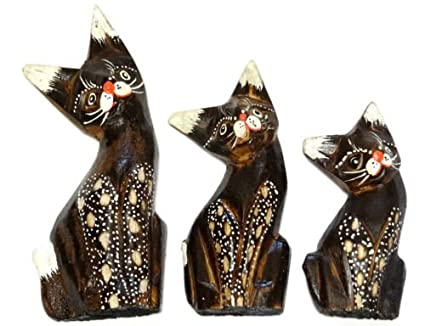 Lot de 3 gatos de madera artesanía Set pintado Wooden Cat ...