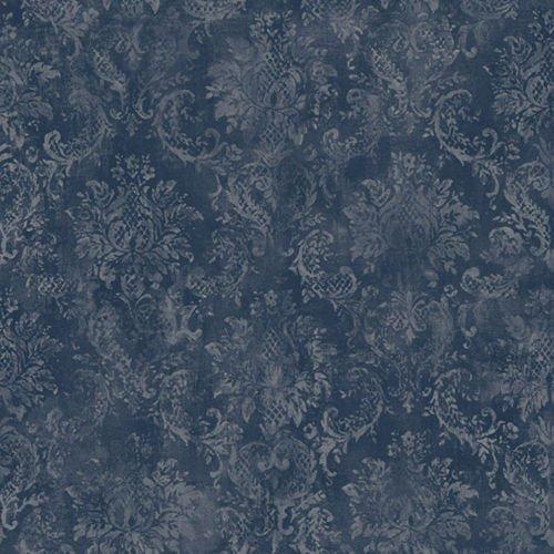 (Norwall SD36102 Canvas Damask Prepasted Wallpaper Navy, Grey)
