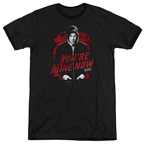 Dexter Dark Passenger Mens Adult Heather Ringer Shirt Black (Dexter Ringer)