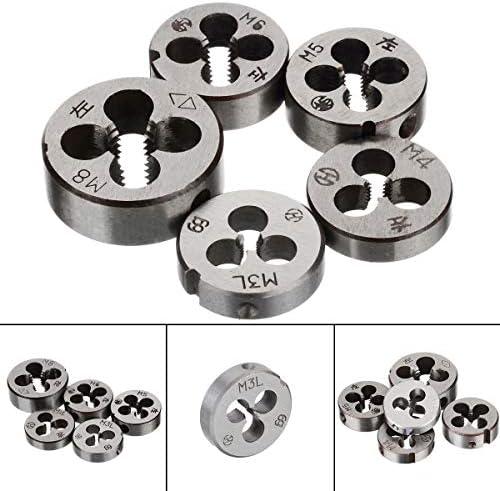 MXBIN 5 Peices Rohrgewinde Die Alloy Steel Metric Threading linksschneidend Die Hand-Werkzeug-Set M3 M4 M5 M6 M8 Hardware-Reparaturwerkzeuge
