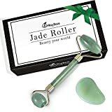 Facial Massage For Forehead Wrinkles - MayBeau Jade Roller with Gua Sha Scraper,Anti-aging Massage Facial Roller Premium Real 100% Natural Jade Stone mined from the mountains of Himalaya