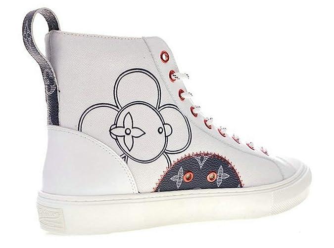 Louis Vuitton Tattoo Sneaker Boot Canvas 1A4Arv White Zapatillas de Running para Hombre: Amazon.es: Zapatos y complementos