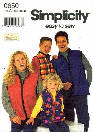 Simplicity 0650 Sewing Pattern Unisex Child's Teens Adults Front Zip Vest Size XS - L / XS - XL