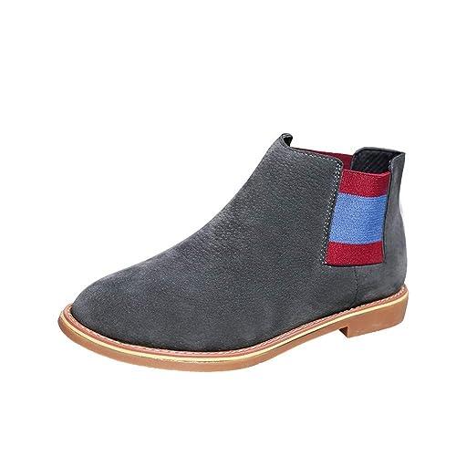 OHQ Botines Martin Mujer 2018 Moda Med Thick Heel Striped Martin Boots Zapatos con Punta Redonda: Amazon.es: Zapatos y complementos