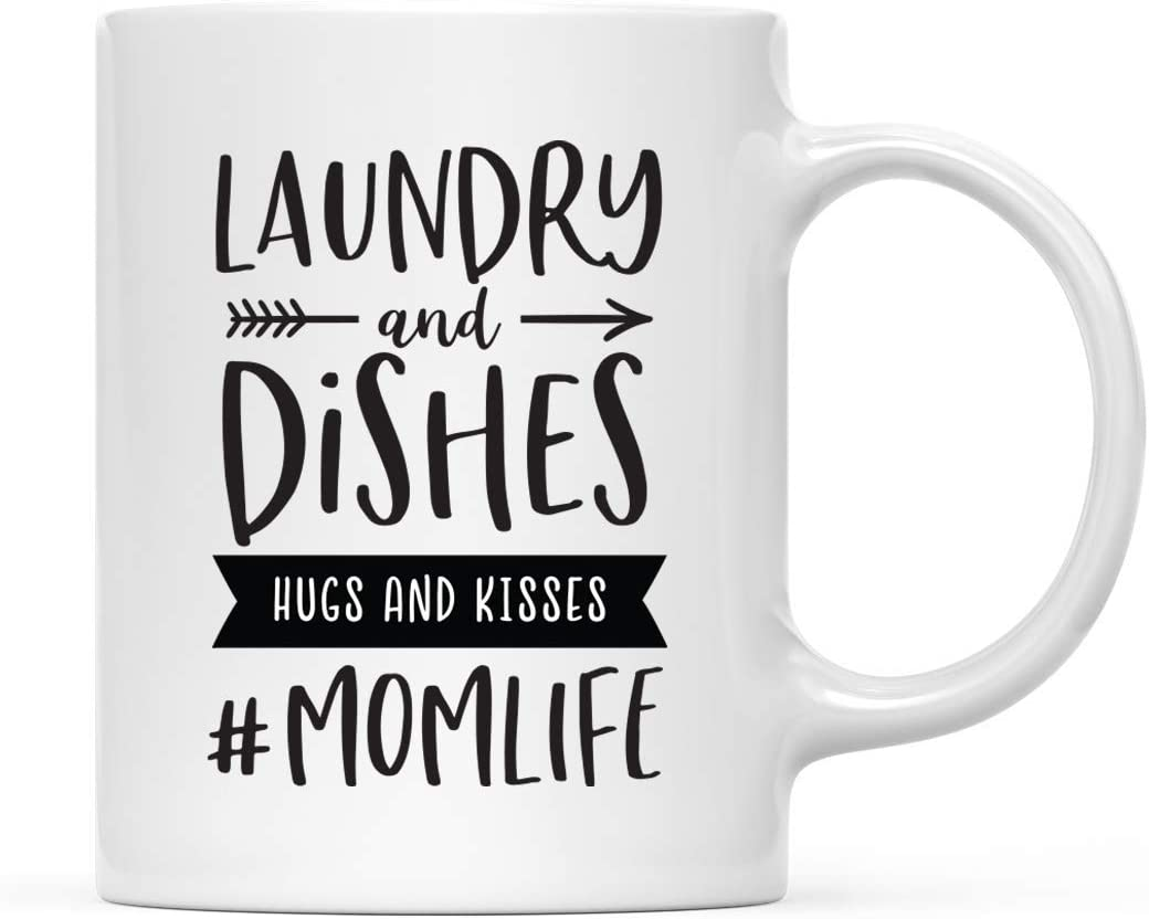 Andaz Press Mother's Day 11oz. Ceramic Coffee Tea Mug Gift for Mom, Laundry and Dishes, Hugs and Kisses, Momlife, 1-Pack, Birthday Christmas Gift Ideas