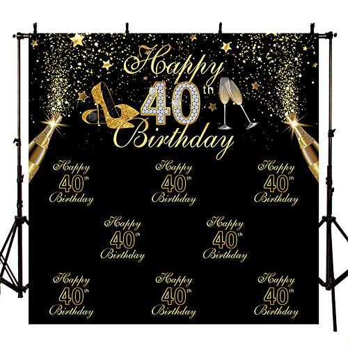 MEHOFOTO Black Photo Background Shining Gold High Heels Champagne Stars Woman 40th Happy Birthday Party Banner Backdrops for Photography 8x8ft
