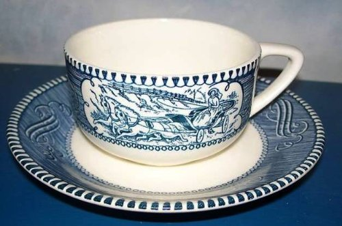 Vintage Royal Currier and Ives China Cup and (Currier & Ives Glass Print)