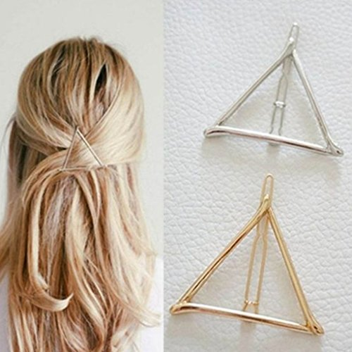 EA-SOTNE Hair Clips for Styling,2 Pairs Minimalist Dainty Hair Clip Hollow Triangle Gold Silver Ponytail Hairpin for Girl Women -