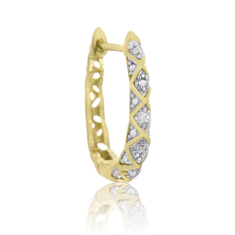 Amazon Delicately Embellished Diamond Hoop Earrings Yellow