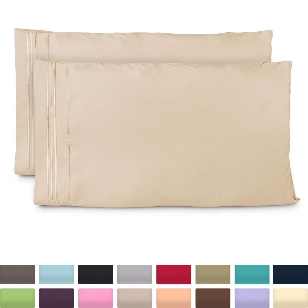 Cosy House Collection King Size Pillow Cases - Luxury Cream Pillowcases - Super Soft Hotel Luxury Pillow Case - Cool & Wrinkle Free - Hypoallergenic - Beige - Set of 2
