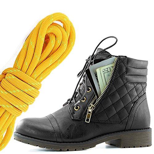 Dailyshoes Donna Militare Allacciatura Fibbia Stivali Da Combattimento Alla Caviglia Alta Tasca Esclusiva Per Carte Di Credito, Tangerine Lime Nero Pu