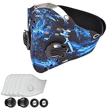 Máscara Antipolución Máscaras de Carbono Activado Oreja Colgante N99 Adecuado con 5 Filtros para Ciclismo,