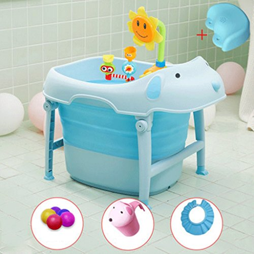 HUANGDA Pet shape portable bath barrel children foldable tub thickening can sit reclining bathtub large space toy storage box (size 47 46 54cm) (Color : Blue)