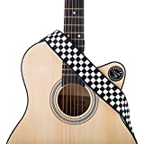 """Guitar Strap, Black and White Checkered Guitar Straps for Acoustic/Electric Guitars & Bass shoulder belt - 2"""" Wide - 35-57"""" Length (Black&White Checkered)"""