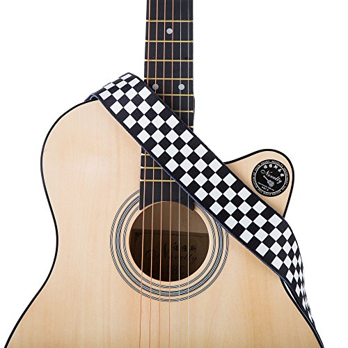 Guitar Strap, Black and White Checkered Guitar Straps for Acoustic/Electric Guitars & Bass shoulder belt - 2