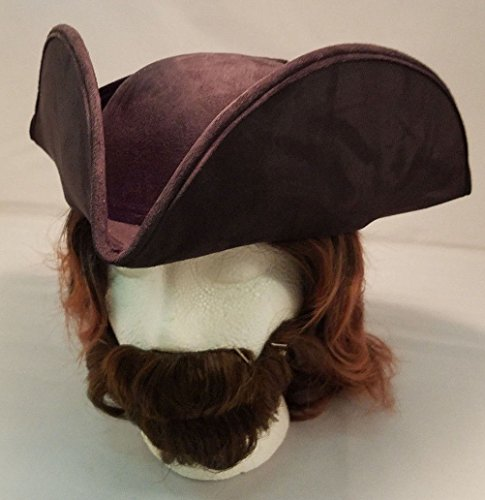 Adult Suede Pirate Hat - Costume Accessory Unisex Adult Faux Suede Tricorne Colonial Hat (Black),One Size