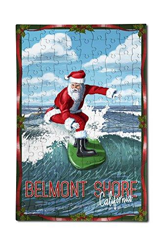 Belmont Shore, California - Santa Surfing (12x18 Premium Acrylic Puzzle, 130 - Shore Belmont