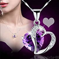 wanmaneeFashion Women Heart Crystal Rhinestone Silver Chain Pendant Necklace Jewelry NEW color purple