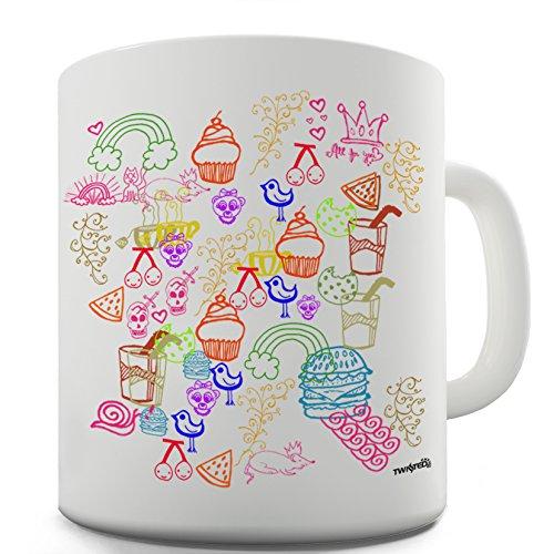 Twisted Envy Doodle Stamps Ceramic Novelty Mug 15 OZ