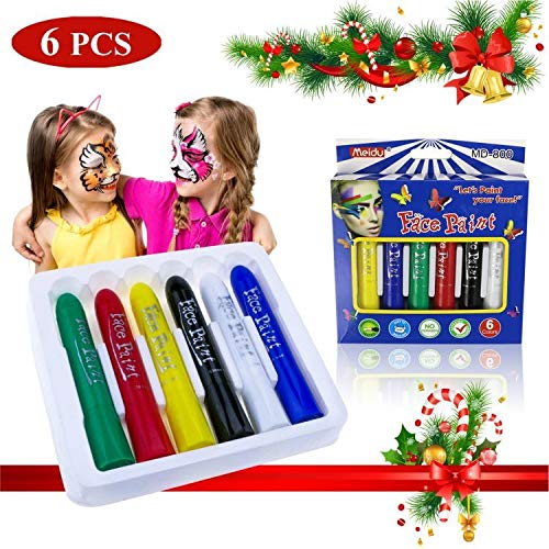 Fixget Face Paint Crayons, 6 Color Face Painting Kits Face Paint Crayon Sticks for Kids Body Painting Sticks for World Cup Non-Toxic Washable Face Paint Painting Crayons Face Painting Sticks