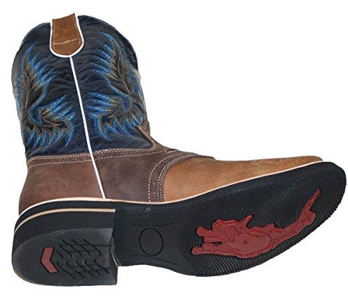 Stivali Da Cowboy In Vera Pelle Di Vacchetta Da Uomo Con Punta Quadrata Color Rodeo Western Tan_blk