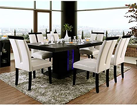 Amazon Com Furniture Of America Antoine Wood 7 Piece Dining Set In Black And Beige Kitchen Dining